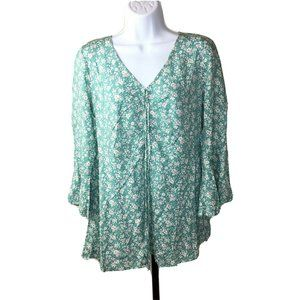Suzanne Betro Top Size Large Green Floral NWT